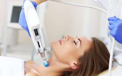 Picture of woman having neck mesotherapy in beauty salon